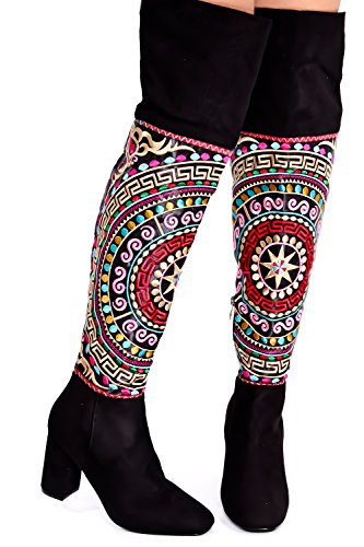LOLLI COUTURE SUEDE STITCHED MULTI PRINT ROUND TOE SIDE ZIPPER CHUNKY THIGH HIGH HEEL BOOT Black-m61-2 iqASMMuso