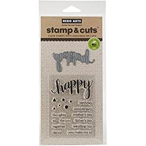 Hero Arts DC150 Stamp and Cut Happy Stamp with Matching Die Cut Set