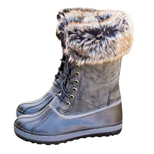 Womens Duck Boot Winter Fur Lace Up Mid Calf Rain Waterproof Snow ()