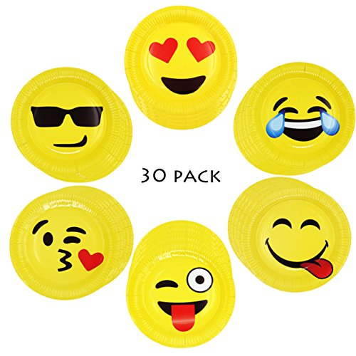 Popculta 9 Inch Large Emoji Paper Party Plates Assorted Emoticons (Pack of 30)