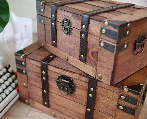 SLPR Alexander Wooden Trunk Chest with Straps (Set of 2, Rich Cognac) | Decorative Treasure Stash Box Old-Fashioned Antique Vintage Style for Birthday Parties Wedding Decoration