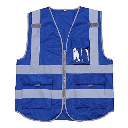 Tiaobug Unisexe Veste Gilet De Sécurité Des Bandes Réfléchissantes Haute Visibilité Avec Poche Zippée Bleu
