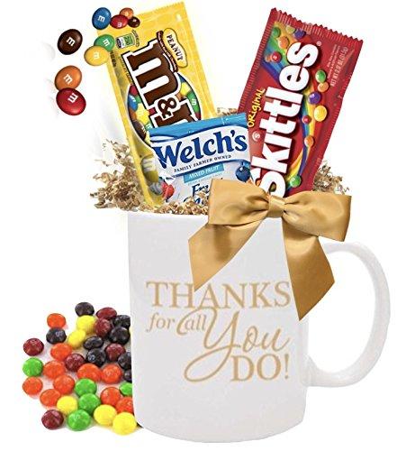 12 Piece Thank You Candy Gift Mugs/Employee Appreciation Gift Mug/Holiday Candy Gift Mug/ Teacher Thank You Mug/Office Staff Gift Mug/Business Thank You Mugs