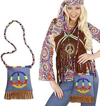 Disfraz hippie paz funda 70er años flecos de flores funda bolsa ...