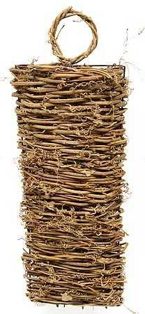"13-1/2"" Natural Twig Vine Long Oval Wall Basket"