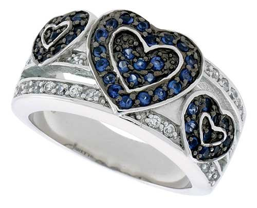 Rhodium Plated Hearts Band - Sterling Silver & Rhodium Plated Hearts Band, w/ Tiny Sapphire & White CZ's, 1/2