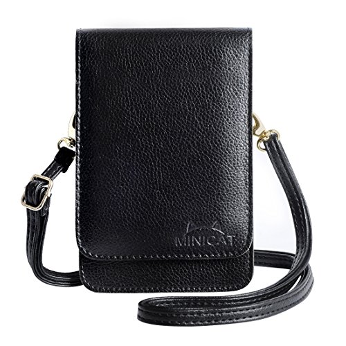 MINICAT Touch Screen Design Mini Leather Crossbody Cell Phone Wallet Purse Bag With Make Up Mirror(Black)