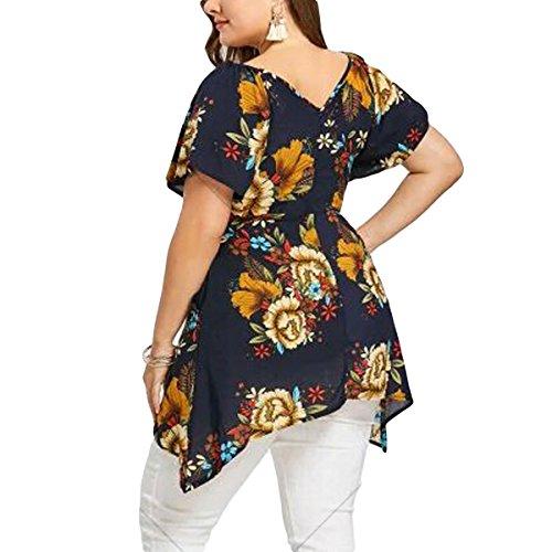 Mousseline Tunique Floral Taille T Blouse Shirt Chemises Tops Femmes V Cou Black Grande Irrgulire Ourlet pUzxxwB7q