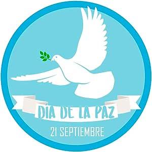 Pack 100 Etiquetas Decorativas para Día de la Paz Pegatinas Personalizadas Polipropileno Adhesivo Redondo Azul y Paloma | 5 x 5 cm | Adhesivo de Fácil Colocación | Pegatina Decorativa: Amazon.es: Hogar