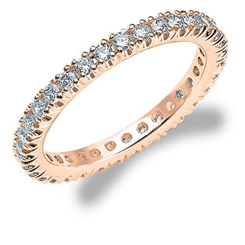 0.75 CTTW Women's Diamond 4-Prong Eternity Band in 14K Rose Gold(.75 cttw, F-G Color, VS1-VS2 Clarity) Size 10.5