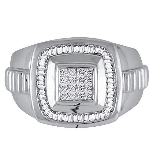 KATARINA Baguette and Princess Cut Diamond Men's Ring in 14K White Gold (1 cttw, G-H, VS2-SI1) (Size-12.5)