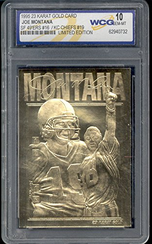 Gold Mint Card - JOE MONTANA 1995 WCG GEM MT 10 LIMITED EDITION 23KT GOLD CARD! 49'ERS/CHIEFS!