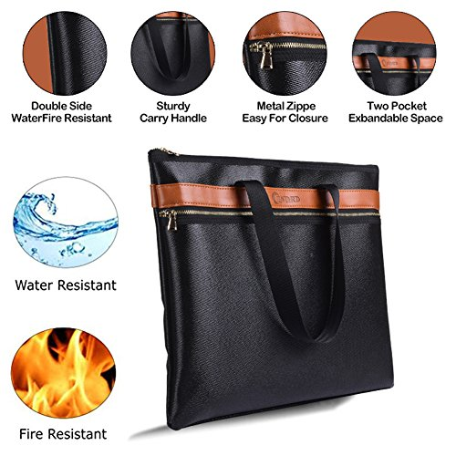 Fireproof Safe, Fireproof Document Bag Non Itchy Glassfibre Home Fire Safe Waterproof Fireproof Storage Box for Money Passport Legal File- Fire Protective Personal Safe Briefcase With Zipper