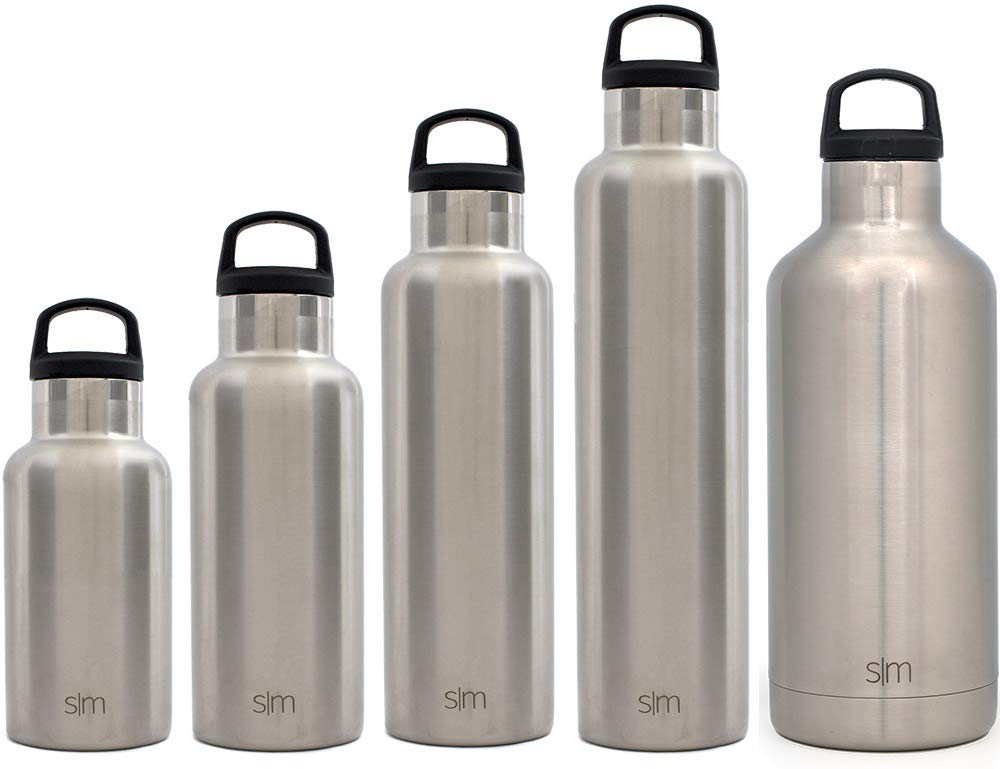 Simple Modern 12oz Ascent Water Bottle - Stainless Steel Hydro Kids Flask w/Handle Lid - Double Wall Vacuum Insulated Silver Reusable Tumbler Small Metal Coffee Leakproof Thermos - Simple Stainless