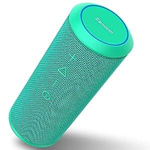 Zamkol Enceinte Bluetooth Portable, Waterproof Haut-Parleur Bluetooth Enceinte sans Fil 24W, 360° HD Bass Pilote Double, Bluetooth 4.2, étanche IPX6, Mains Libres et Technologie TWS - Turquoise 3