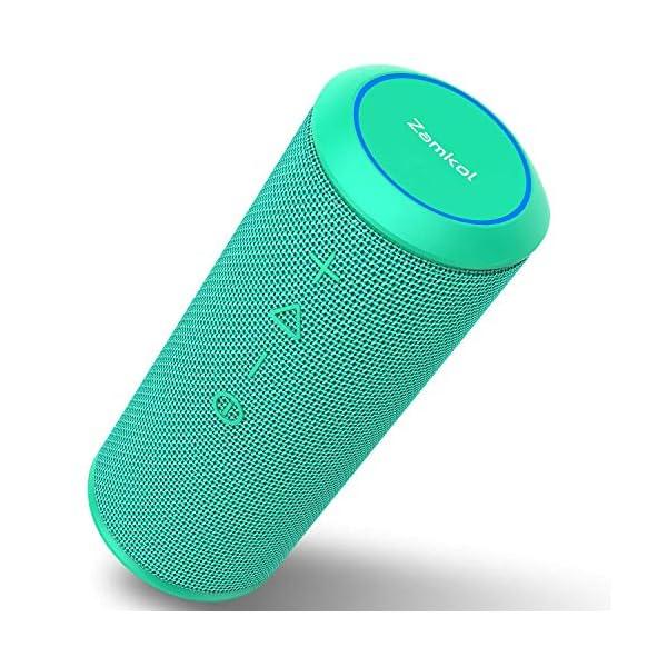 Zamkol Enceinte Bluetooth Portable, Waterproof Haut-Parleur Bluetooth Enceinte sans Fil 24W, 360° HD Bass Pilote Double, Bluetooth 4.2, étanche IPX6, Mains Libres et Technologie TWS - Turquoise 1