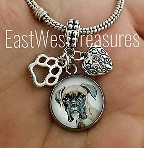 Personalized Boxer Dog Photo Charm Bracelets and Necklace-Pet Photo picture jewelry ()