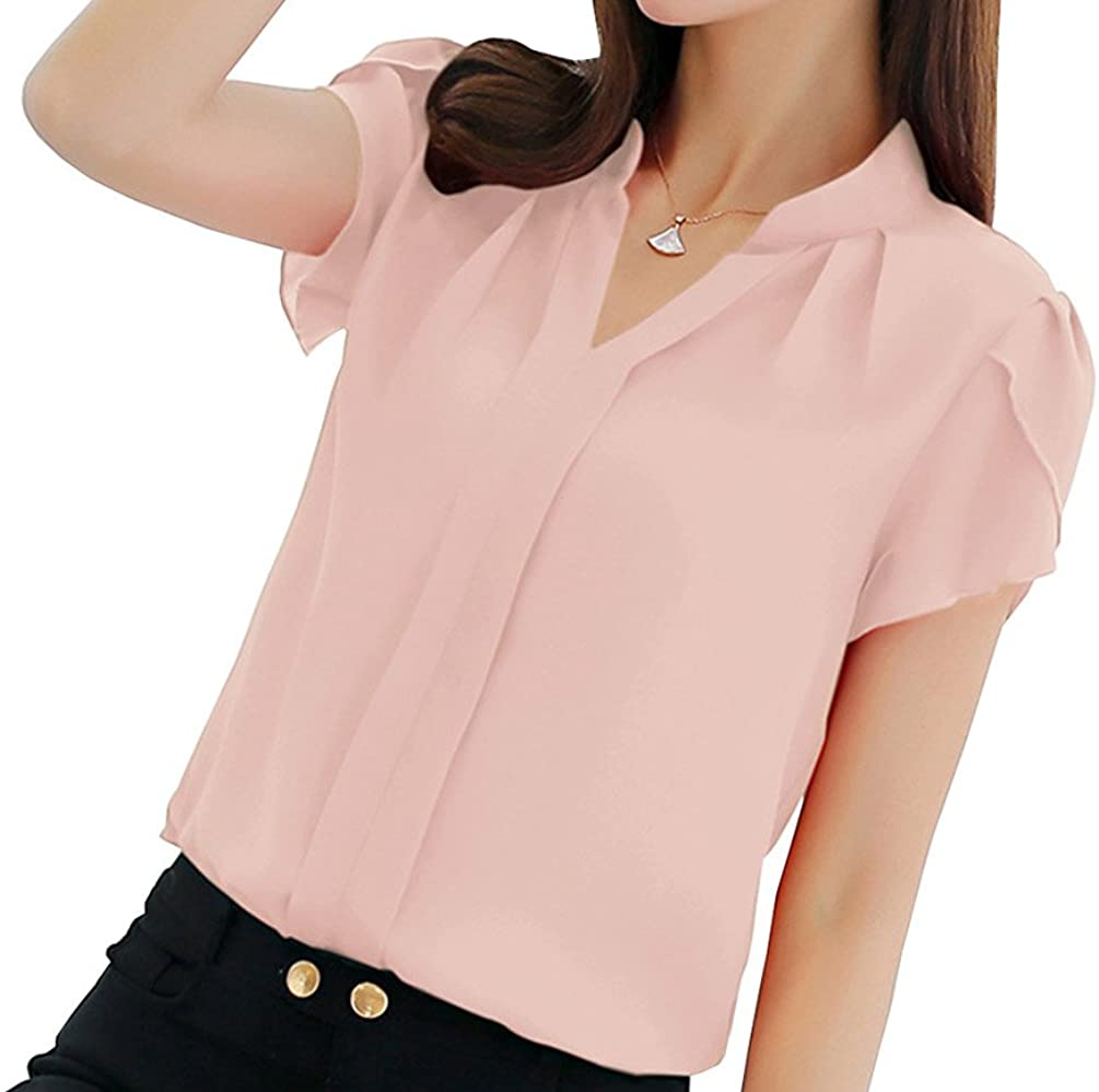 Women's Blouse Short and Long Sleeve Petite Elegant V Neck Shirt Korean Fashion Work Tops