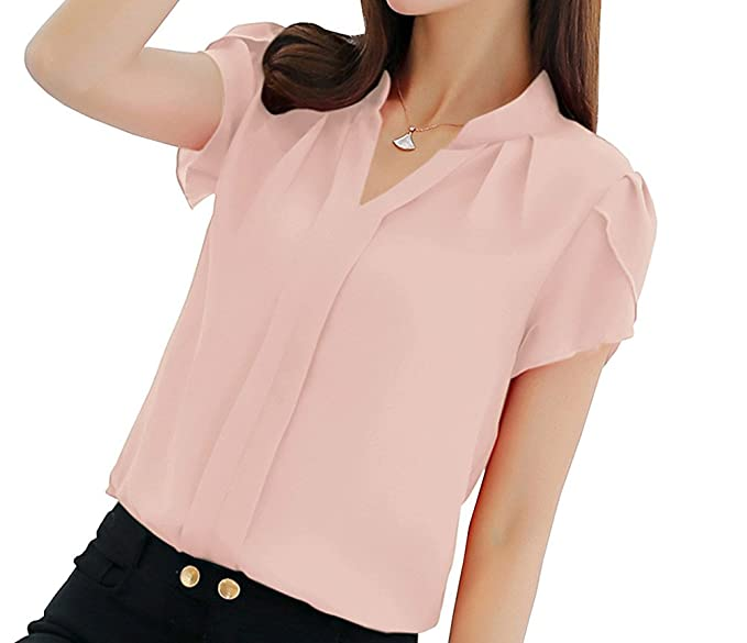 7f0f7fc7b9a Women s Polyester Blouse Short Sleeve V Neck Petite Elegant Shirt Korean Fashion  Wear to Work Tops