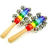 Zeavola 2Pcs Colours Baby Bells on Wooden Handle