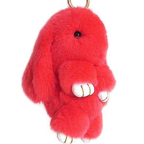 ACTLATI Soft Cute Bunny Charm Ring Keyfob Rabbit Fur Keyring Fluffy Pompom Keychain Decoration Red (Charm Red Rabbit)