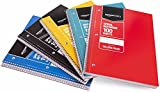 AmazonBasics College Ruled Wirebound Notebook, 100-Sheet, Assorted Solid Colors, 5-Pack