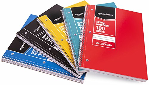 AmazonBasics College Ruled Wirebound Notebook, 100-Sheet, Assorted Solid Colors, 5-Pack ()