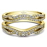 Double Infinity Wedding Ring Guard Enhancer with 0.49 carats of Diamonds (G-H,I2-I3) in Yellow Plated Sterling Silver
