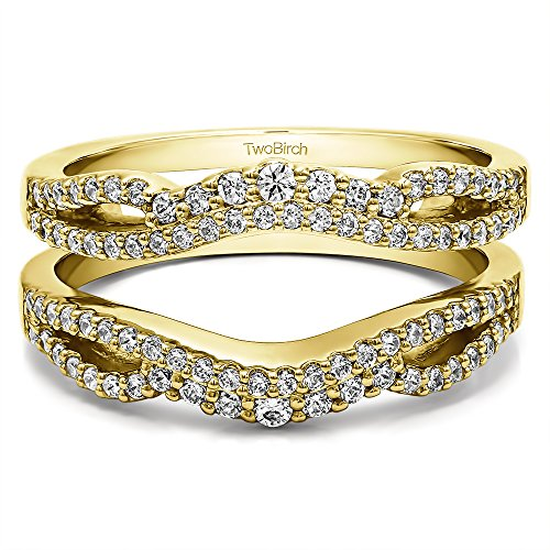 TwoBirch 0.49 ct. Cubic Zirconia Double Infinity Wedding Ring Guard Enhancer in Yellow Plated Sterling Silver (1/2 ct. twt.)