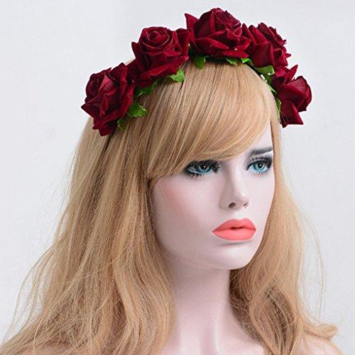 Bandeau Fleurs Couronne Rose De Rouge Acmede Mariée Floral Mariage Plage Cheveux Serre Vacances Champagne Foncé Tête dxwUngqY