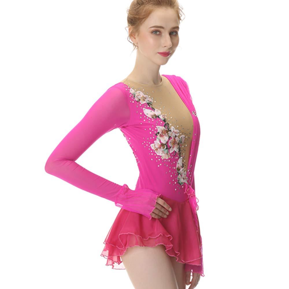 Amazon.com: Vestido de patinaje con figura rosa, falda de ...