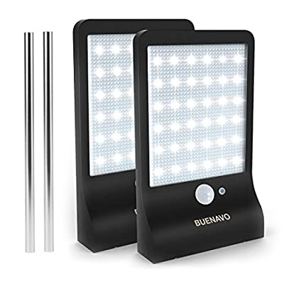 BuenaVo Solar Light Outdoor 36 LEDs, Motion Sensor Super Bright Light With Wide Angle Illumination, Waterproof Night Security Lighting for Wall, Driveway, Patio, Yard, Garden, Pack of 2