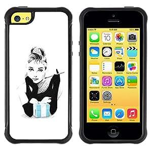 Suave TPU GEL Carcasa Funda Silicona Blando Estuche Caso de protección (para) Apple Iphone 5C / CECELL Phone case / / Blue Baby White Woman Movie Star /