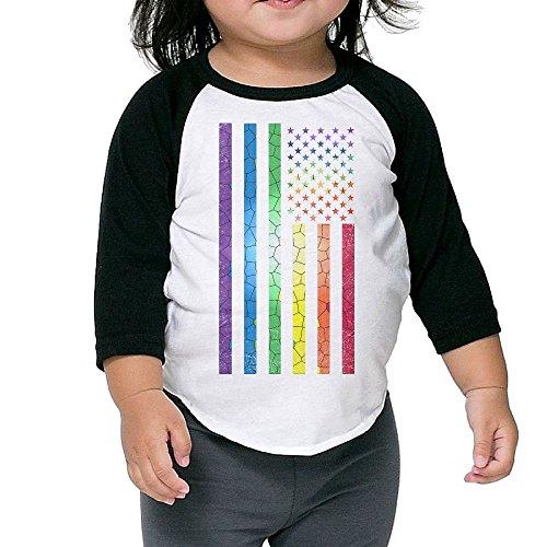 Golden Tiger Uniform (Funny Rainbow American Flag Gay Pride Unisex Kids 3/4 Sleeves Raglan T Shirts Child Youth Fit Sports Uniforms)