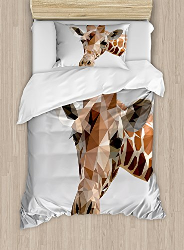Ambesonne Animal Duvet Cover Set Twin Size, African Safari Wildlife Creature Digital Giraffe Modern Triangles Image Artwork, Decorative 2 Piece Bedding Set with 1 Pillow Sham, Brown ANG Grey