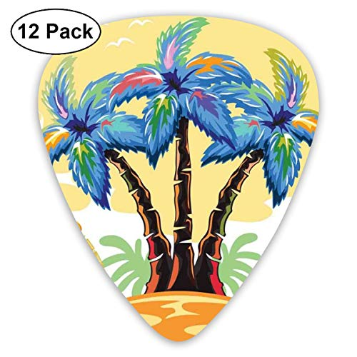 (Guitar Picks - Abstract Art Colorful Designs,Cartoon Tropical Island With Hawaiian Palm Trees Torch Seagulls At Sunset,Unique Guitar Gift,For Bass Electric & Acoustic Guitars-12 Pack)