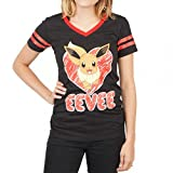 Pokemon Eevee Black V Neck Juniors Tee (Medium, Black)