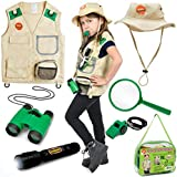 Born Toys Explorer Kit for Kids Children's Toy with Washable Premium Backyard Safari Vest and Adventure kit for Halloween Costume, Paleontologist Costume Full Kids Explorer Set