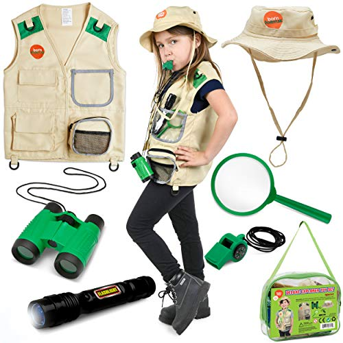 Born Toys Kids Explorer Kit for Boys and Girls with Washable Premium Backyard Safari Vest and Adventure kit for Halloween Costume, Paleontologist Costume Full Kids Explorer Set