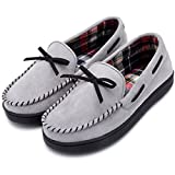 RockDove Women's Memory Foam Moccasin Slippers with Plaid Lining (7 B(M) US, Grey)