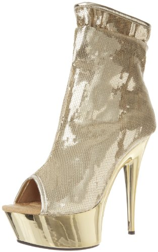 The Highest Heel Women's Amber-411 Bootie,Gold Sequin,9 M US -