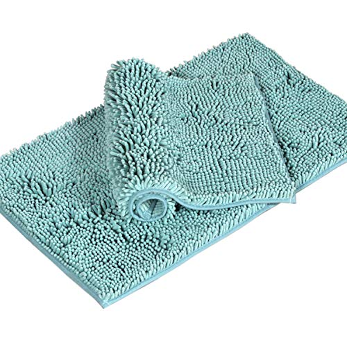 Original Luxury Chenille Bathroom Rug Mat Extra Soft and Absorbent Shaggy Rugs Non Slip Shag Bath Mat Microfiber Chenille Plush Rugs for Entryway, 17