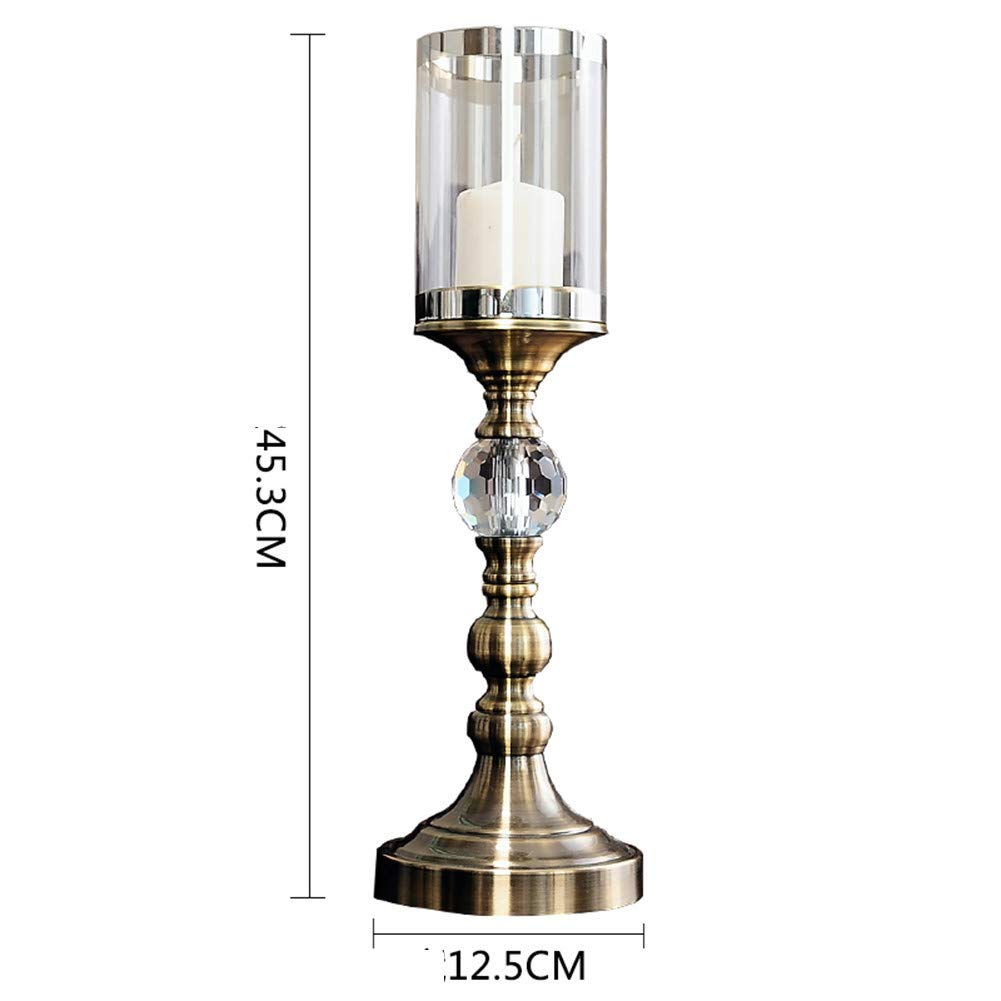 Li-lamp Christmas Retro Candlestick Three-Piece Metal Glass Material Home Living Room Porch TV Cabinet Decoration Ornaments (Size : C)
