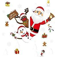 AUTOWT Pegatinas de Ventana Navidad para Vidrio, Adhesivos estáticos para Ventanas con árbol Navidad, Copo Nieve, muñeco…