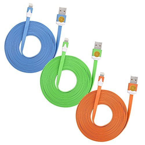 Flat Noodle (3 Pack of 3M (10ft) Heavy Duty Flat Noodle Lightning Cable Cord 8-Pin Charger Cord for iPhone 6S, 6S Plus, SE, 5S, iPad (Blue Green Orange))