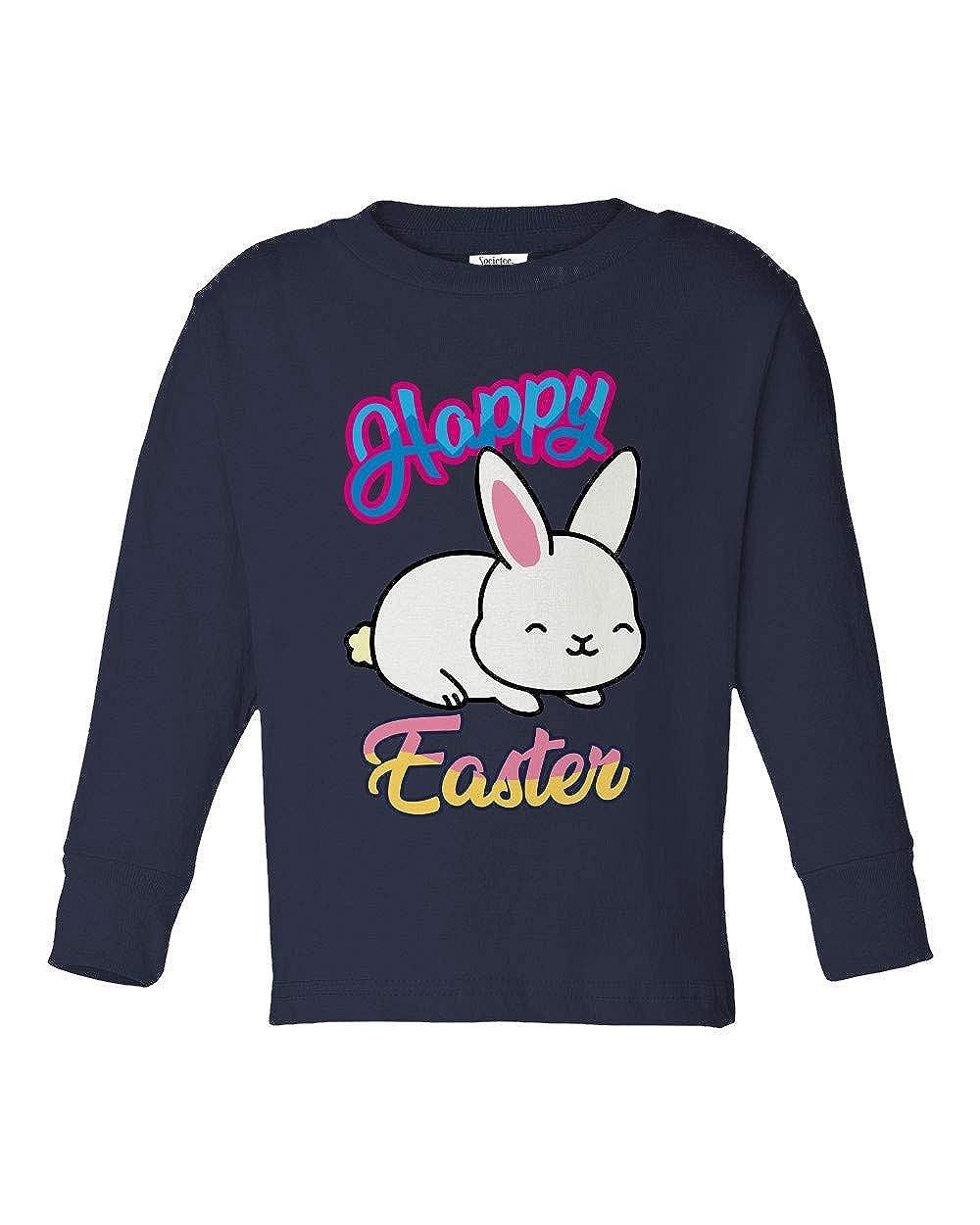 Societee Happy Easter Bunny Cute Adorable Girls Boys Toddler Long Sleeve T-Shirt