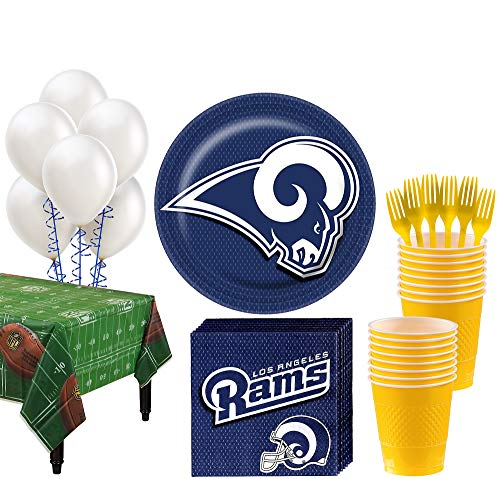 (Party City Los Angeles Rams Super Party Kit for 18 Guests, Football Party Supplies, Includes Table Cover and)