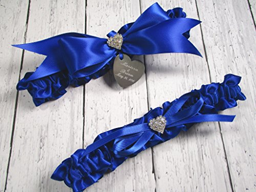 Royal Blue Wedding Garter Set with Rhinestone Hearts and Personalized Engraving ()