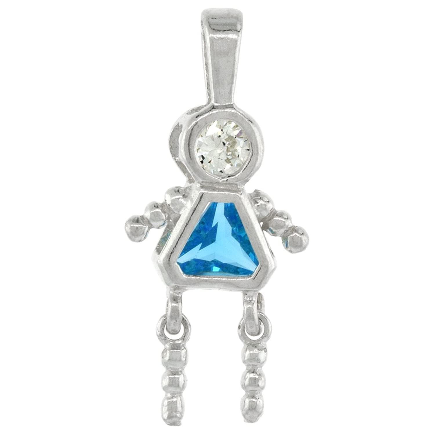 Sterling Silver Birthstone Necklace December Baby Brat Girl Blue Topaz Color Cubic Zirconia, 1.5 mm Chain