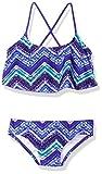 Kanu Surf Big Girls' Kirsten Chevron Flounce Bikini Beach Sport 2-Piece Swimsuit, Purple, 12